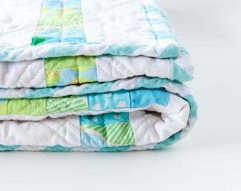 """Modern Baby Quilt - Toddler Quilt - Geometric Quilt - Upcycled fabrics - White & Turquoise - 48"""" x 48"""""""