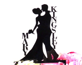 MADE In USA, Personalized Bride and Groom Silhouette Wedding Cake Topper, Monogram Personalized Names, Wedding Cake Topper Bride and Groom