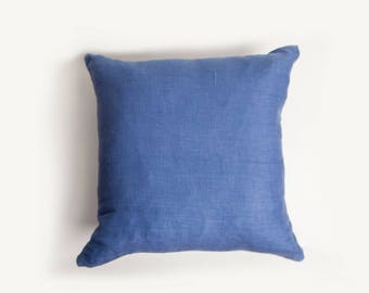 20x20 Pillow Covers, Set of Four, Blue Pillow Cover, Pacific Blue, Pillow Cover, Linen Pillow Cover, European Linen, Medium Blue