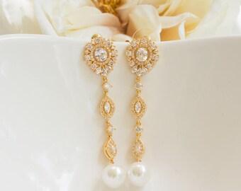 Yellow Gold Earrings   Long Earrings   Bridal Earrings   Pearl Earrings   Bridal Jewelry   Pearl Dangle Earrings   Weddings