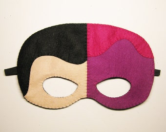 Two face superhero felt mask - double face mask - childrens comic costume for boys and girls - soft Dress Up play photo prop accessory