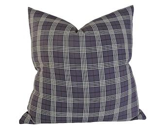 Dark Grey Pillow, Plaid Pillow Covers, Gray Throw Pillows, 18x18, 20x20, Lodge Pillows, Gray Couch Pillow, Masculine Cushions, Mens Pillows