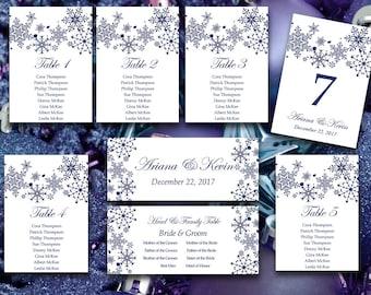 Winter Wedding Seating Chart Template   Snowflake Wedding Navy Blue Winter Wonderland Table Number Card   Wedding Download