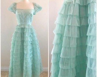CLEARANCE Vintage Prom Dress 1960s Tiered Teal Tulle with Puff Sleeves - Full Length Gown Size Small