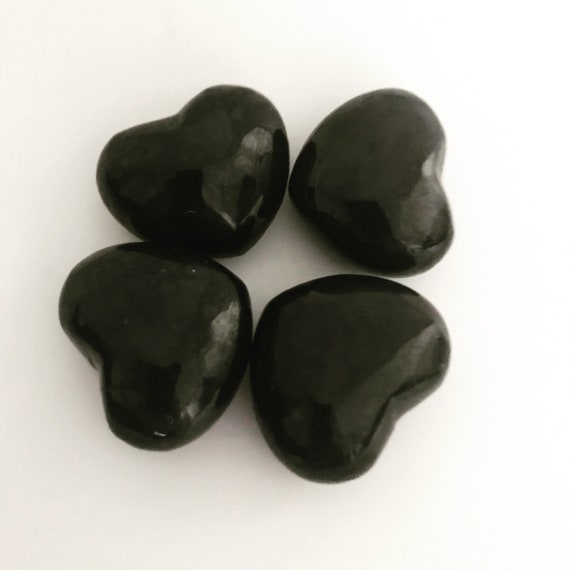 Polished Shungite Puffy Hearts, Black Crystals for Healing, Root Chakra Healing, Gemstone Gift for Friend, Healing Crystals and Stones