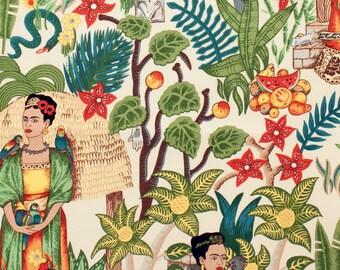 Frida's Garden- Tea Dyed Alexander Henry Fabrics Cotton- FRIDA KAHLO FABRIC!