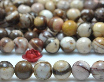 58 pcs of Natural Europe Brown Zebra Jasper smooth round beads in 6mm (06838#)