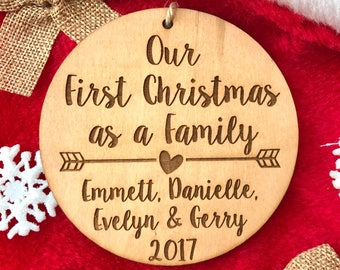 Personalized First Christmas as a Family Ornament - Personalized Wood Ornament, Family Christmas, Adoption Ornament, Wedding Gift, Adopted