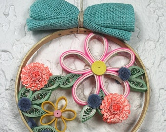 Wall hanging/decorative frame/decorative hoop/quilled garden/quilled flowers/quilling