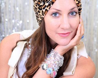 Leopard Print Turban in Velvet - Women's Fashion Turbans - Animal Print Hair Wrap - Bohemian Style Hair Accessories