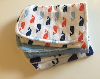 Baby Boy Bibs & Burp Cloths- Whale and Nautical- White, Blue, and Orange