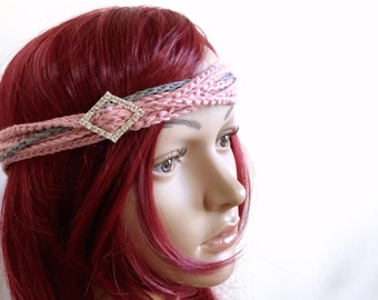 SALE - Sweetheart Headband - Chain Style Headband in 100 Pct. Cotton in Pink and Gray - Rhinestone Embellishment - Classic Headband