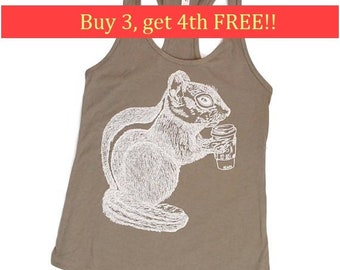 Womens Tank Tops - Coffee Tank Top - Coffee Dinker Gifts - Chipmunk Tank Tops -Funny Animals Tank Tops - Funny Womens Tank - Grey Tank Top