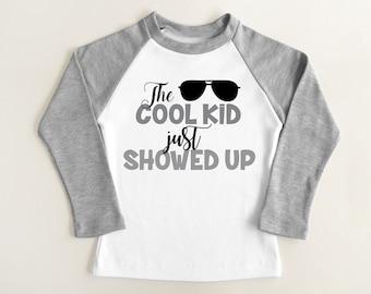 Cool Kids Shirt. Toddle Raglan Long Sleeve Shirt. Trendy Kids Clothes. Hipster Kids Clothes. Modern Boys Shirt. Kids Shirt. Graphic Tee.