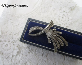 1930's silver brooch marcasite