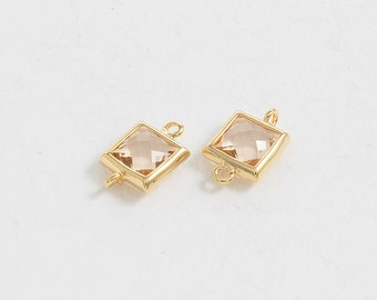 Champagne Glass Connector, Square Glass, Jewelry Supplies, Polished Gold Plated Over Brass - 2 pieces-[SGP0003]-CHAMPAGNE/PG