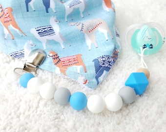 BLUE Silicone Pacifier Clip Binky Clip Dummy Teether Clip Soother Clip Color Block Universal Clip Toy Clip Newborn Baby Girl Boy Chew Beads