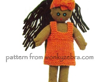 Vintage doll knitting pattern for a little ethnic doll and clothes American Hawaiian African retro dresses Pattern PDF 519 from WonkyZebra