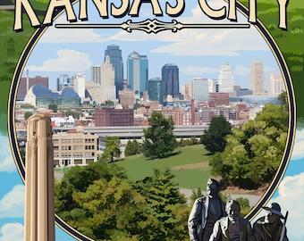 Kansas City, Missouri - Montage Scenes - Lantern Press Artwork (Art Print - Multiple Sizes Available)