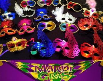 Lot of 10 Mardi Gras Party Favor MASKS Wholesale Bulk Weddings / New Year's / Birthdays / Halloween!