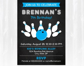 Bowling Invitations - Bowling Party Invitations - Bowling Birthday - EDIT at home NOW with Adobe Reader!!! - Bowling Party  Supplies