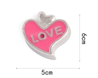 Love Floating Charms for Living Lockets, Glass Memory Lockets,Love Heart