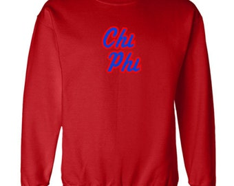 Chi Phi Twill Name Crewneck Sweatshirt (Royal Blue/Red)