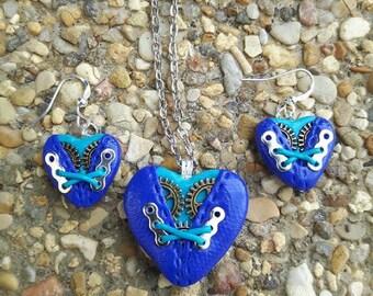 Blue polymer clay steampunk heart ornament #.