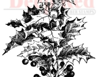 Deep Red Cling Rubber Stamp Rubber Stamp Holly Holiday Cluster