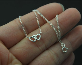 Tiny heart necklace, Sterling silver Love charm Necklace, open heart charm necklace, double heart necklace