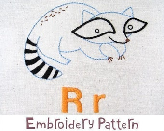 R Raccoon INSTANT DOWNLOAD PDF embroidery pattern