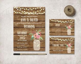 Rustic Wedding Invitation, Printable Wedding Invitation Set, Country Wedding Invitation, Summer Mason Jar Wedding Invitation, Barn Wedding
