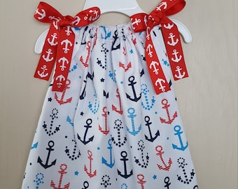 Pillowcase Dress - Anchor Dress - Red, White and Blue Dress