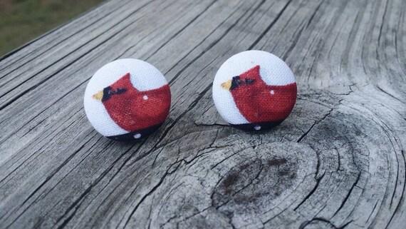 Button Earrings, Cardinal Earrings, Fashion Jewelry, Costume Jewelry, Fabric Earrings, Round Earrings,  Bird Earrings, Bird Gift