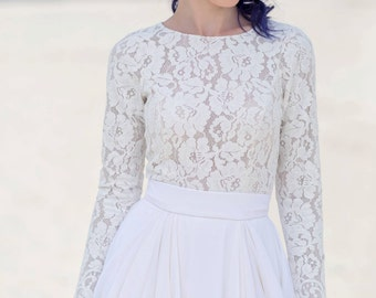 Eirene - long sleeve bridal top / bridal sweater / bridal blouse long sleeve / thick lace bridal top / bridal long sleeve separate