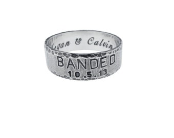Custom Sterling Silver Banded Wedding Ring - Personalized Handstamped Handmade Engraved Handcrafted Jewelry Artisan Rugged Mens Fashion