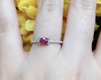 Ruby Diamond Ring/14k White Gold Wedding Ring/Natural Ruby & High Quality Diamonds/Dainty Diamond Ring/Ruby Ring/Engagement Ring/Simple Ring