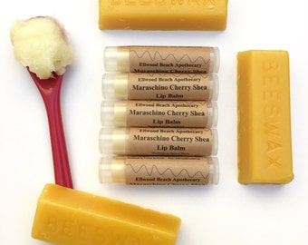 Organic Maraschino Cherry Shea Lip Balm; Beeswax, Kukui, Jojoba, Baobab oils. (All Natural) Chapstick by Ellwood Beach Apothecary