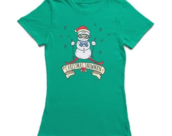 Christmas Snowman Label Snowflakes Around Graphic  Women's Kelly Green T-shirt