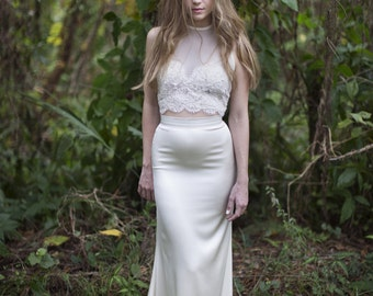 Reese bridal lace crop top