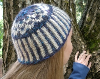 Rippling Waves Knitted Cap from Handspun Yarn