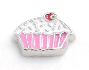 Pink Cupcake Floating Locket Charm Living Memory Lockets Jewelry Making Supplies - 61i
