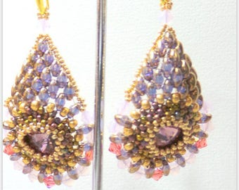Earrings fall Crystal, woven with pearls and Crystal