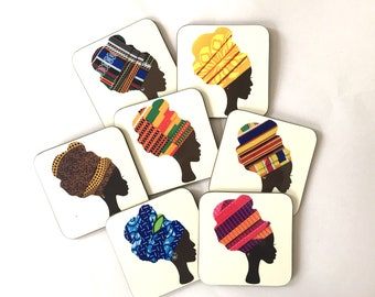 Headwrap coasters, African coasters, fridge magnet, head wrap magnets, head wrap, drinks mat,  birthday gift for her, valentine gift