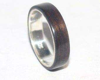 Wooden Rings - Bentwood Ebony & Sterling Silver Lined Rings- Mens Wood Rings, Womens Wood Rings, Wood Engagement Rings, Wood Wedding Bands