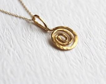 22k solid gold hammered  textured vortex charm 10mm
