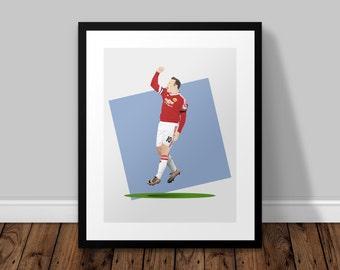 Wayne Rooney Celebration Illustrated Poster Print | A6 A5 A4 A3