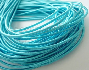 5Yards 2mm Satin Elastic Cord Sting in Aqua ..For Stationary..Accessories, Jewelry, Stationary