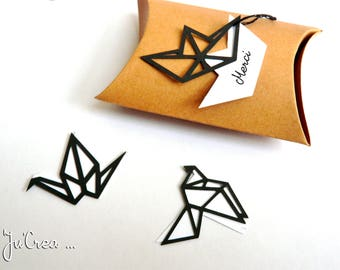 Origami geometric black 3 x tags