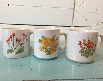 Vintage 3 floral mugs